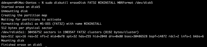 sudo diskutil eraseDisk FAT32 WININSTALL MBRFormat /dev/disk5
